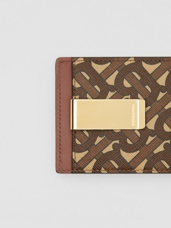 Monogram Print E-canvas Money Clip Card Case in Bridle Brown - Men | Burberry - cell image 1