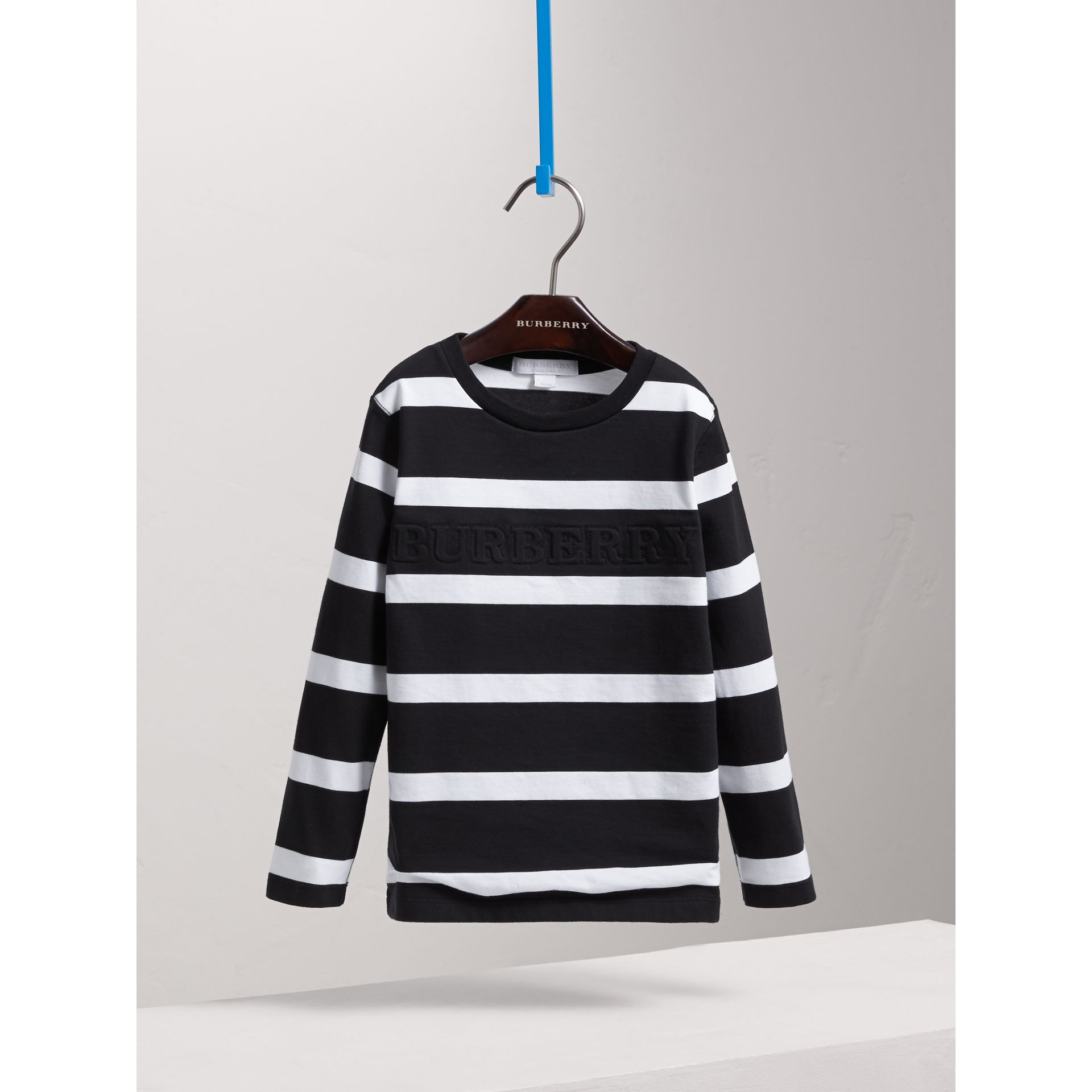 Long-sleeve Striped Cotton T-shirt in Black/white - Boy | Burberry - gallery image 3