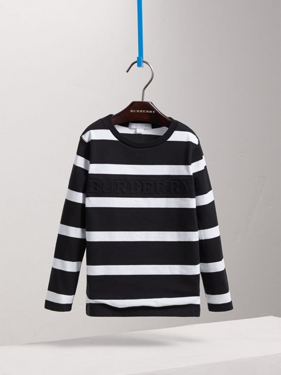 Long-sleeve Striped Cotton T-shirt in Black/white - Boy | Burberry - cell image 2