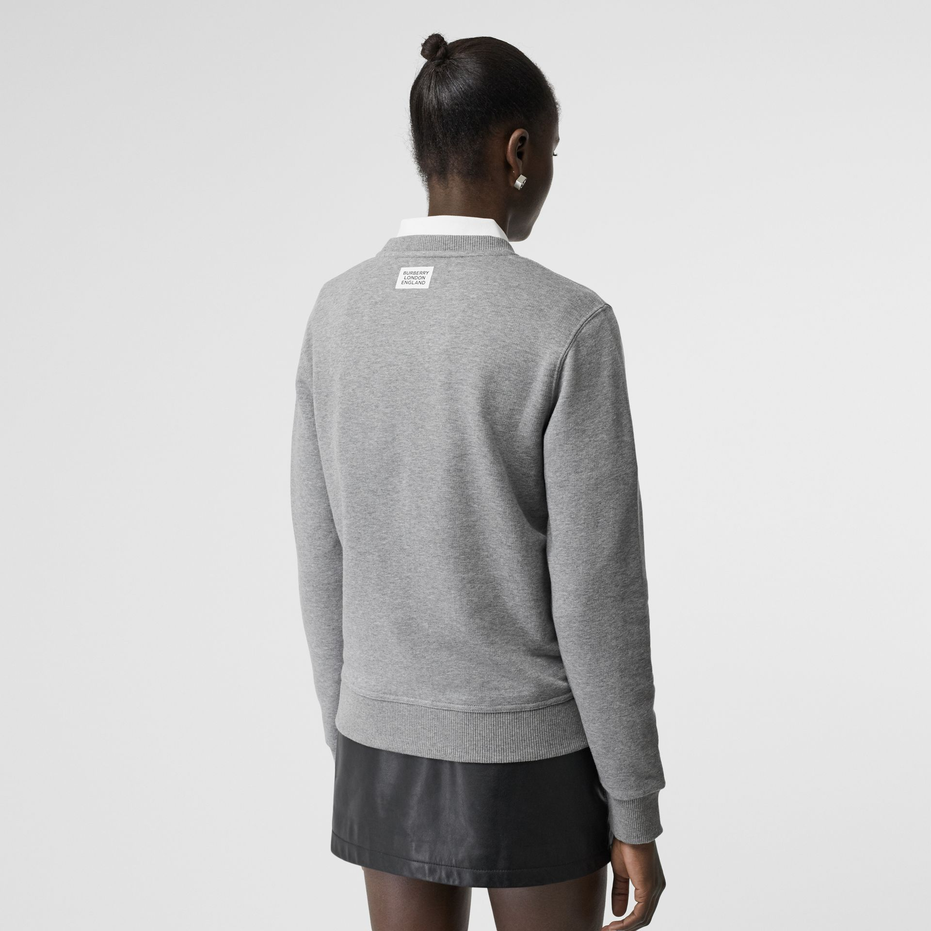Quote Print Cotton Sweatshirt in Pale Grey Melange - Women | Burberry United Kingdom - gallery image 2