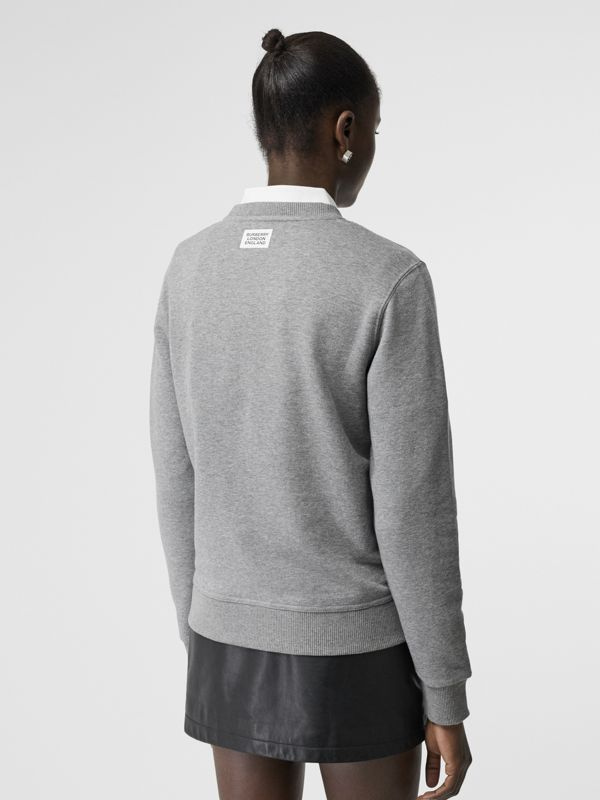 Quote Print Cotton Sweatshirt in Pale Grey Melange - Women | Burberry - cell image 2