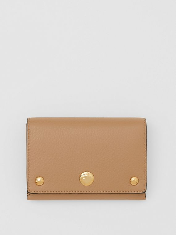 Triple Stud Leather Folding Wallet in Light Camel