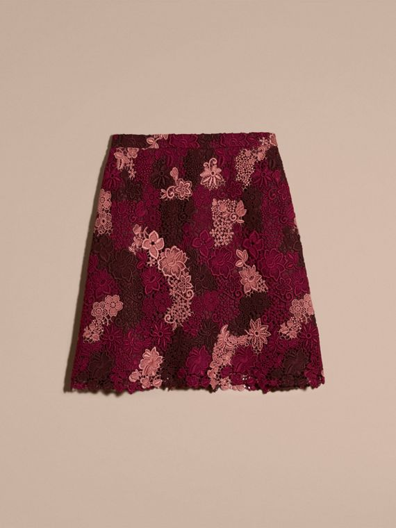 Deep claret Floral Italian Macramé Lace Skirt - cell image 3