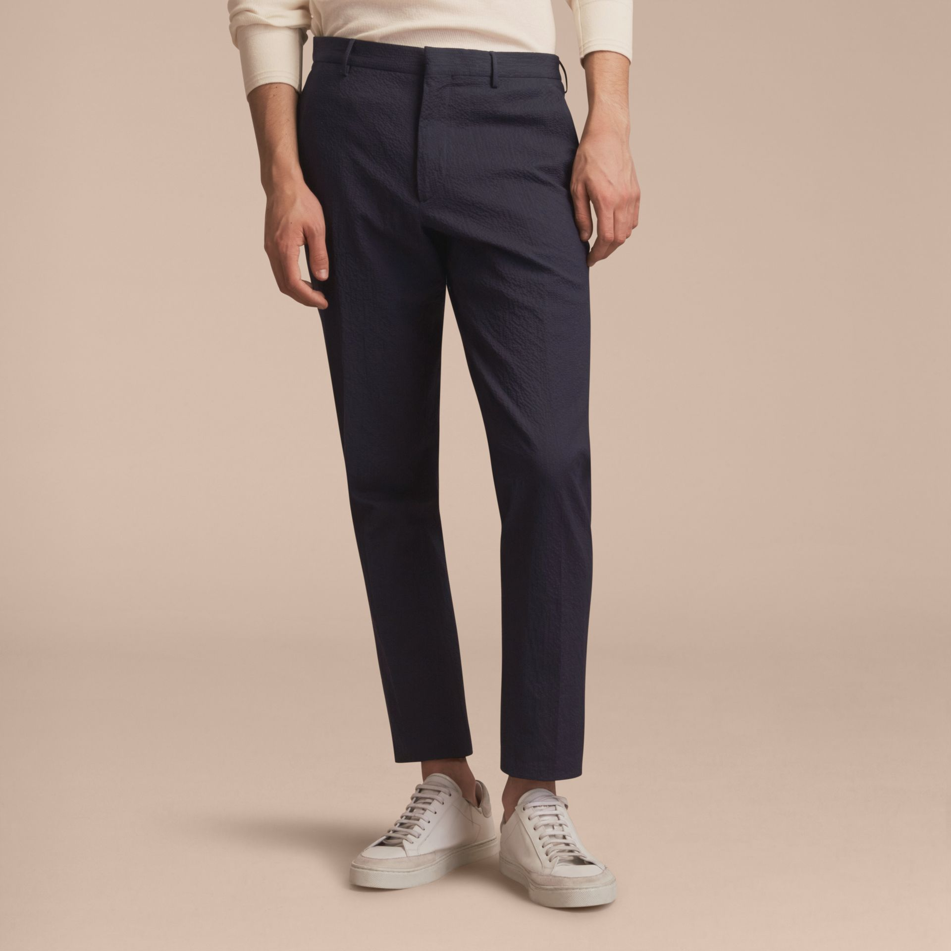 Slim Fit Textured Stretch Cotton Trousers - gallery image 6