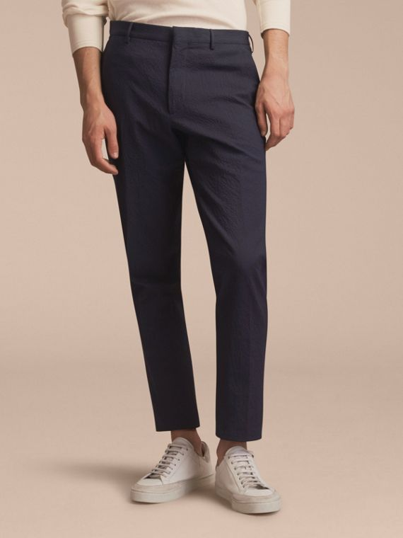 Slim Fit Textured Stretch Cotton Trousers - Men | Burberry Australia