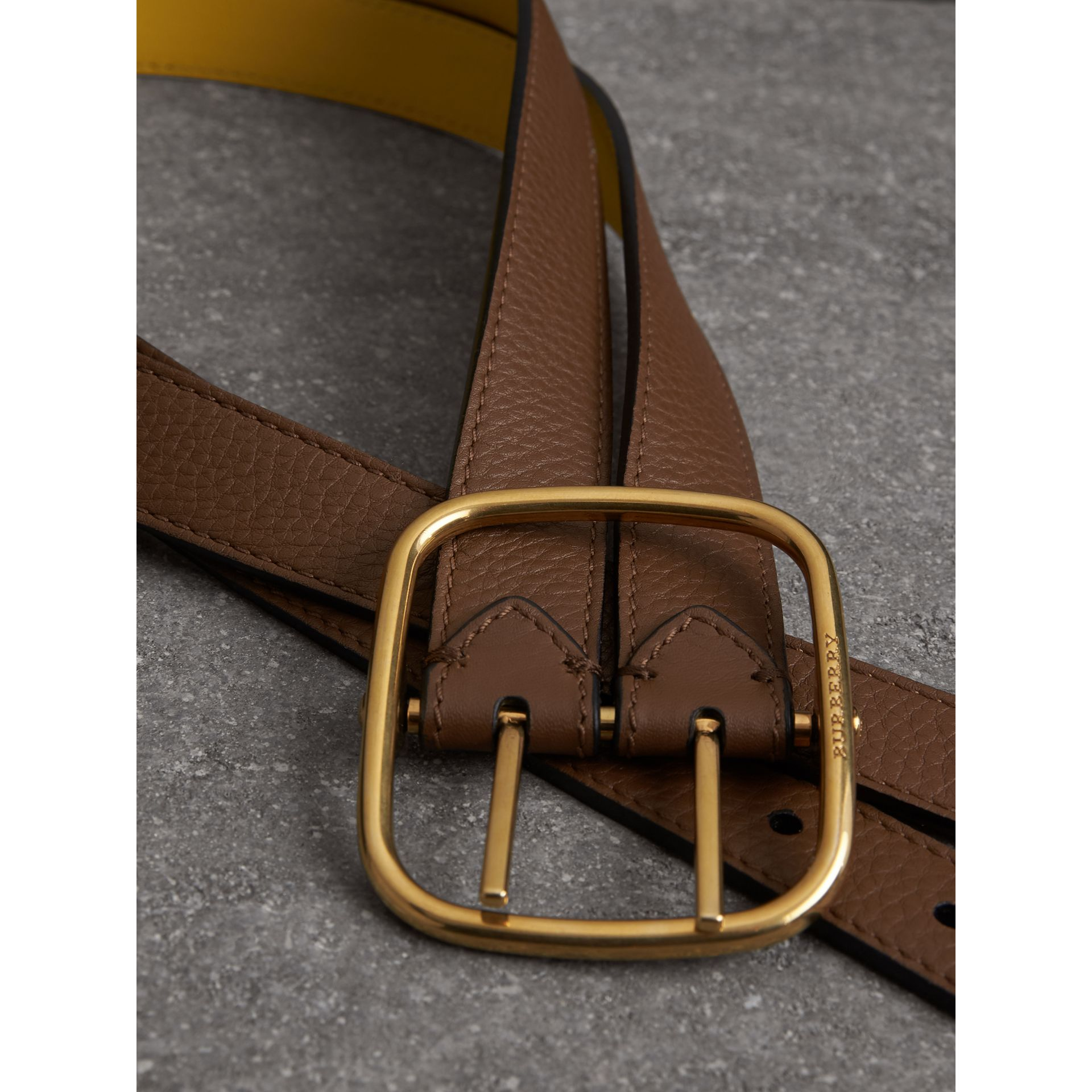 Reversible Double-strap Leather Belt in Tan/bright Larch Yellow - Women | Burberry United Kingdom - gallery image 1