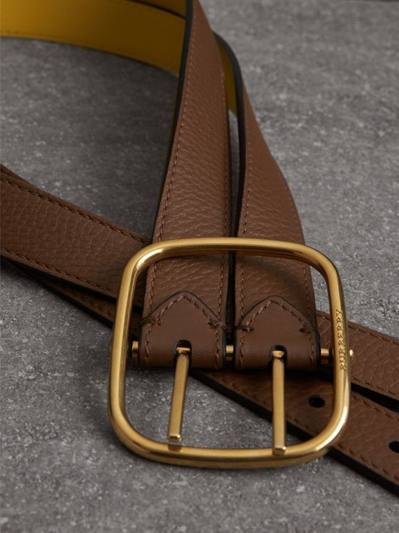 Reversible Double-strap Leather Belt in Tan/bright Larch Yellow - Women | Burberry United States - cell image 1