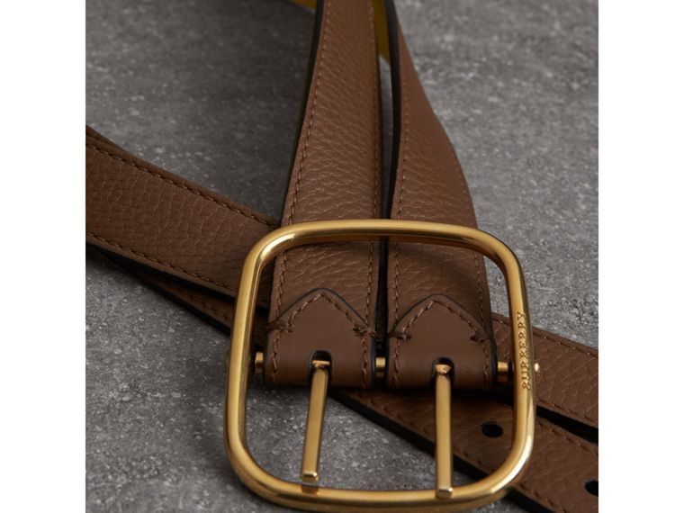 Double-strap Leather Belt in Tan/bright Larch Yellow - Women | Burberry - cell image 1