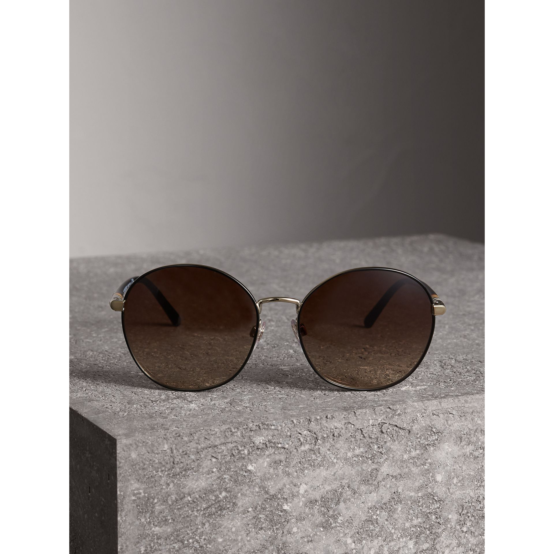 Check Detail Round Frame Sunglasses in Black - Women | Burberry United Kingdom - gallery image 3