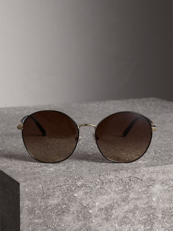 Check Detail Round Frame Sunglasses in Black - Women | Burberry Australia - cell image 3