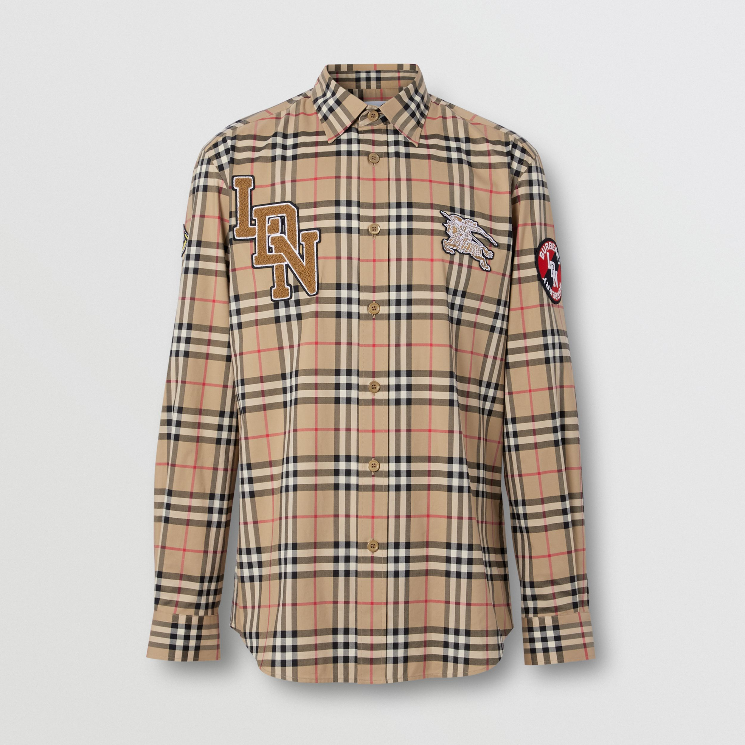 Classic Fit Logo Graphic Vintage Check Cotton Shirt in Archive Beige - Men | Burberry - 4