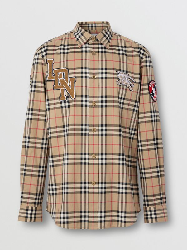 Classic Fit Logo Graphic Vintage Check Cotton Shirt in Archive Beige - Men | Burberry - cell image 3