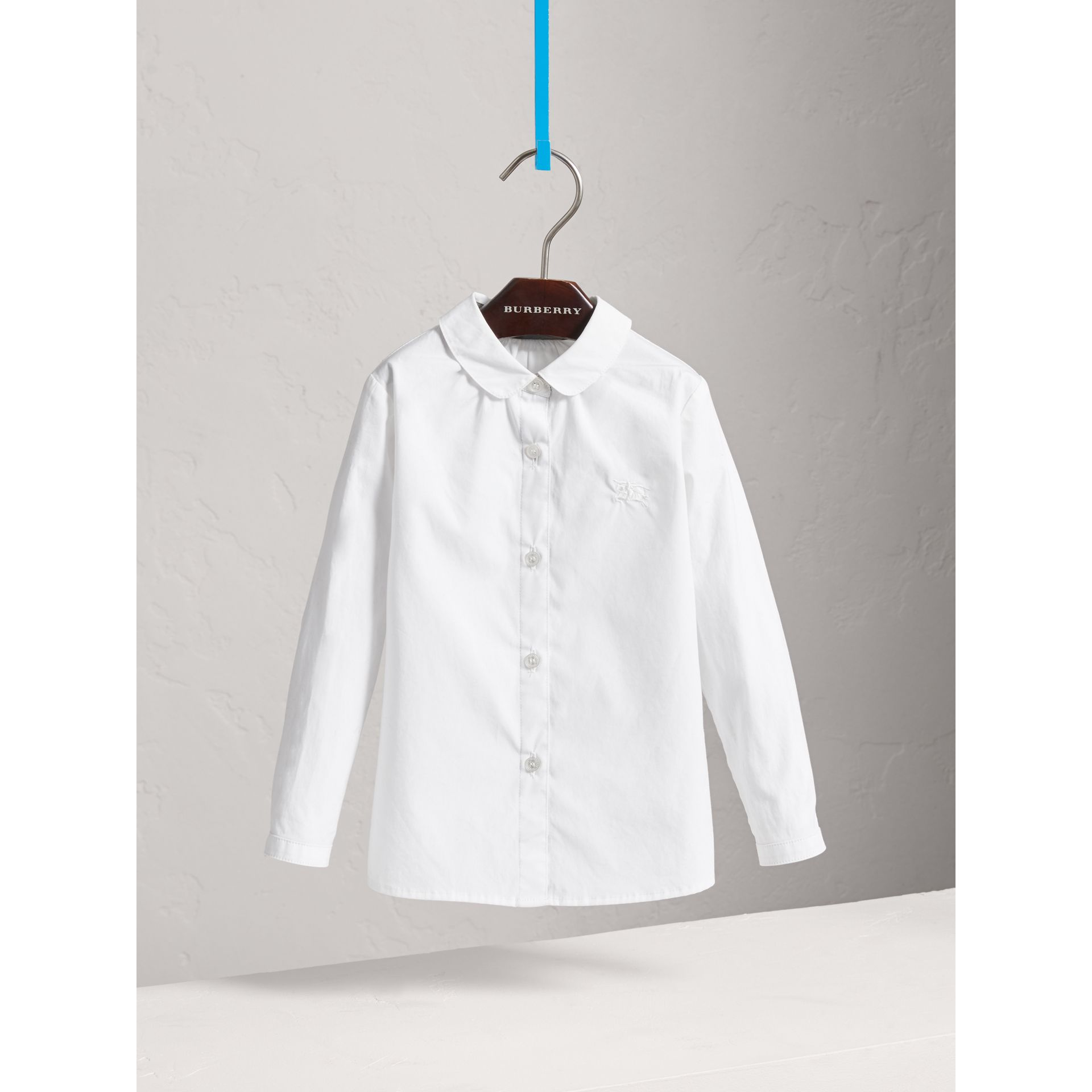Peter Pan Collar Stretch Cotton Shirt in White - Girl | Burberry - gallery image 0