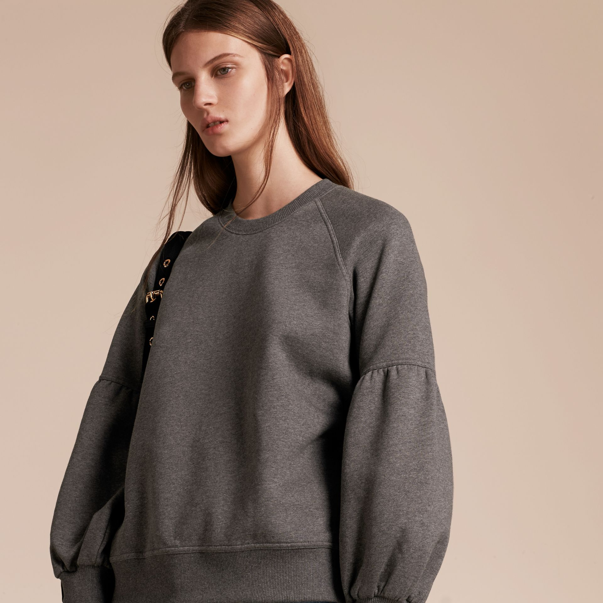 Brushed-back Jersey Sweatshirt with Bell Sleeves Mid Grey Melange - gallery image 5