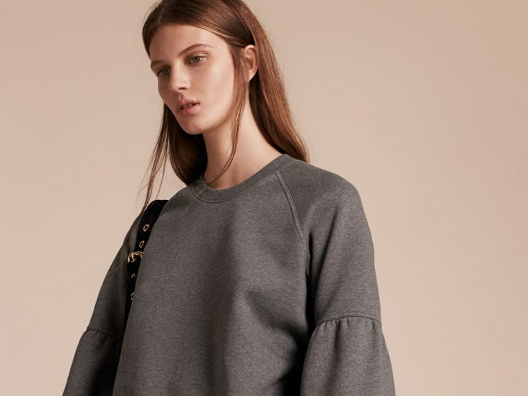 Brushed-back Jersey Sweatshirt with Bell Sleeves Mid Grey Melange - cell image 4