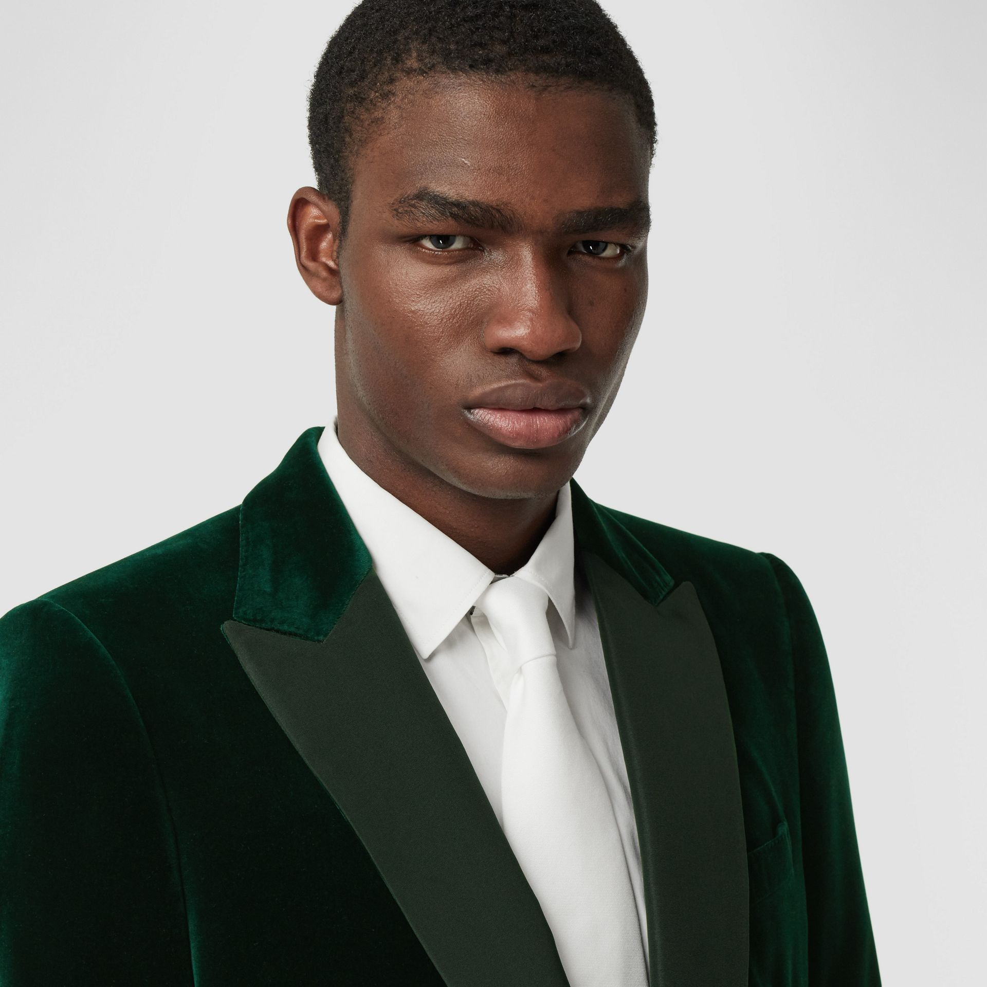 English Fit Silk Trim Velvet Tailored Jacket in Dark Pine Green - Men | Burberry Hong Kong S.A.R - gallery image 1