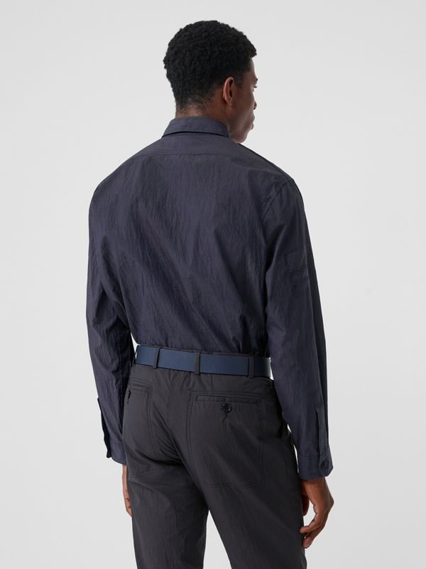 Crinkled Cotton Blend Shirt in Navy - Men | Burberry - cell image 2