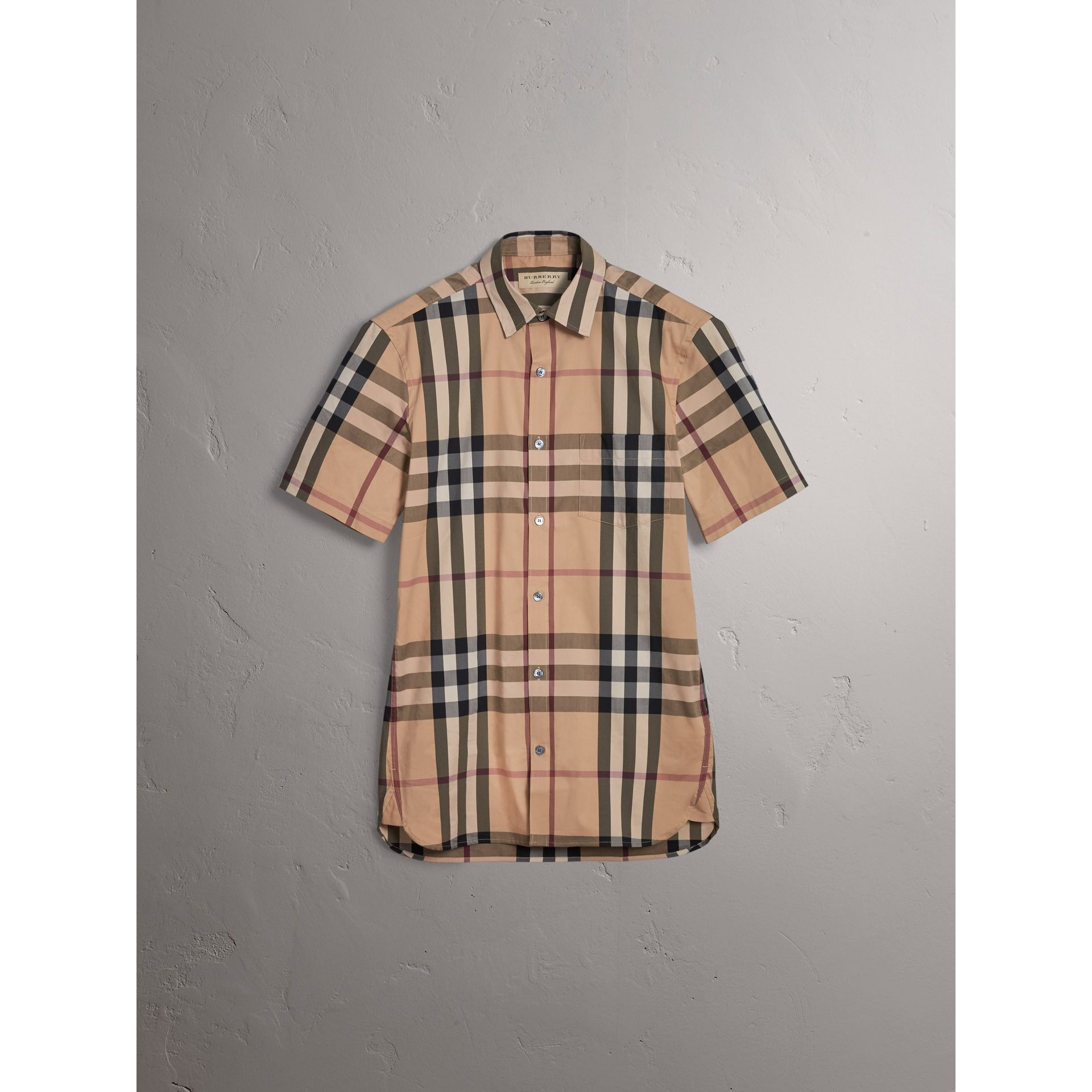 Short-sleeved Check Stretch Cotton Shirt in Camel - Men | Burberry United Kingdom - gallery image 3