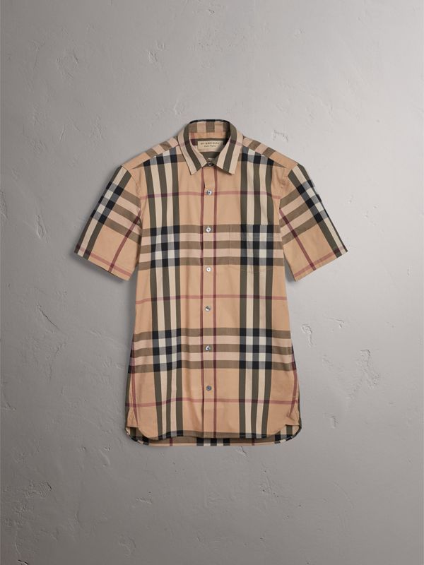 Short-sleeved Check Stretch Cotton Shirt in Camel - Men | Burberry United Kingdom - cell image 3