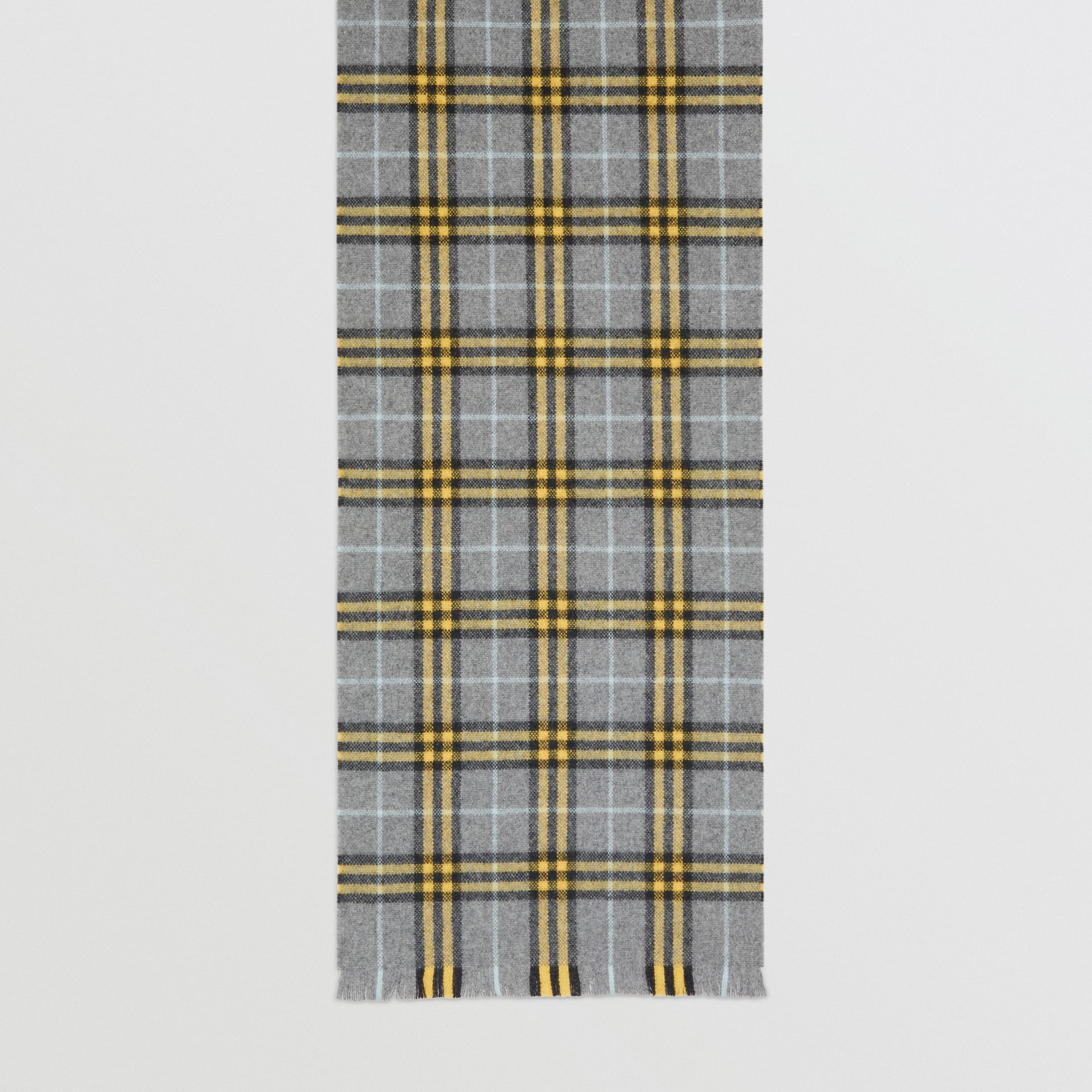 Check Cashmere Scarf in Storm Grey | Burberry - gallery image 3