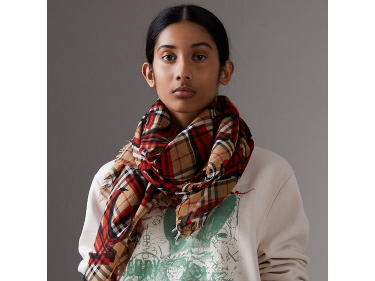Graffiti Print Check Wool Silk Large Square Scarf in Bright Red | Burberry - cell image 4