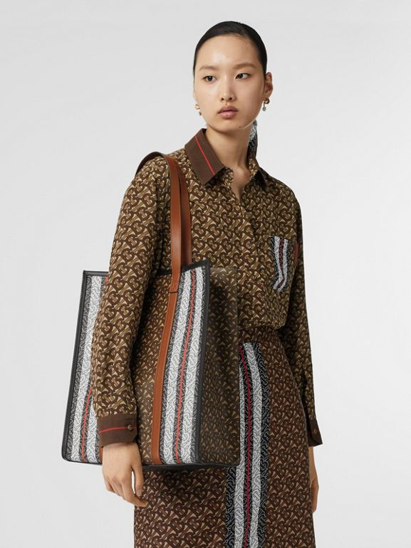 Monogram Stripe E-canvas Portrait Tote Bag in Bridle Brown | Burberry - cell image 1