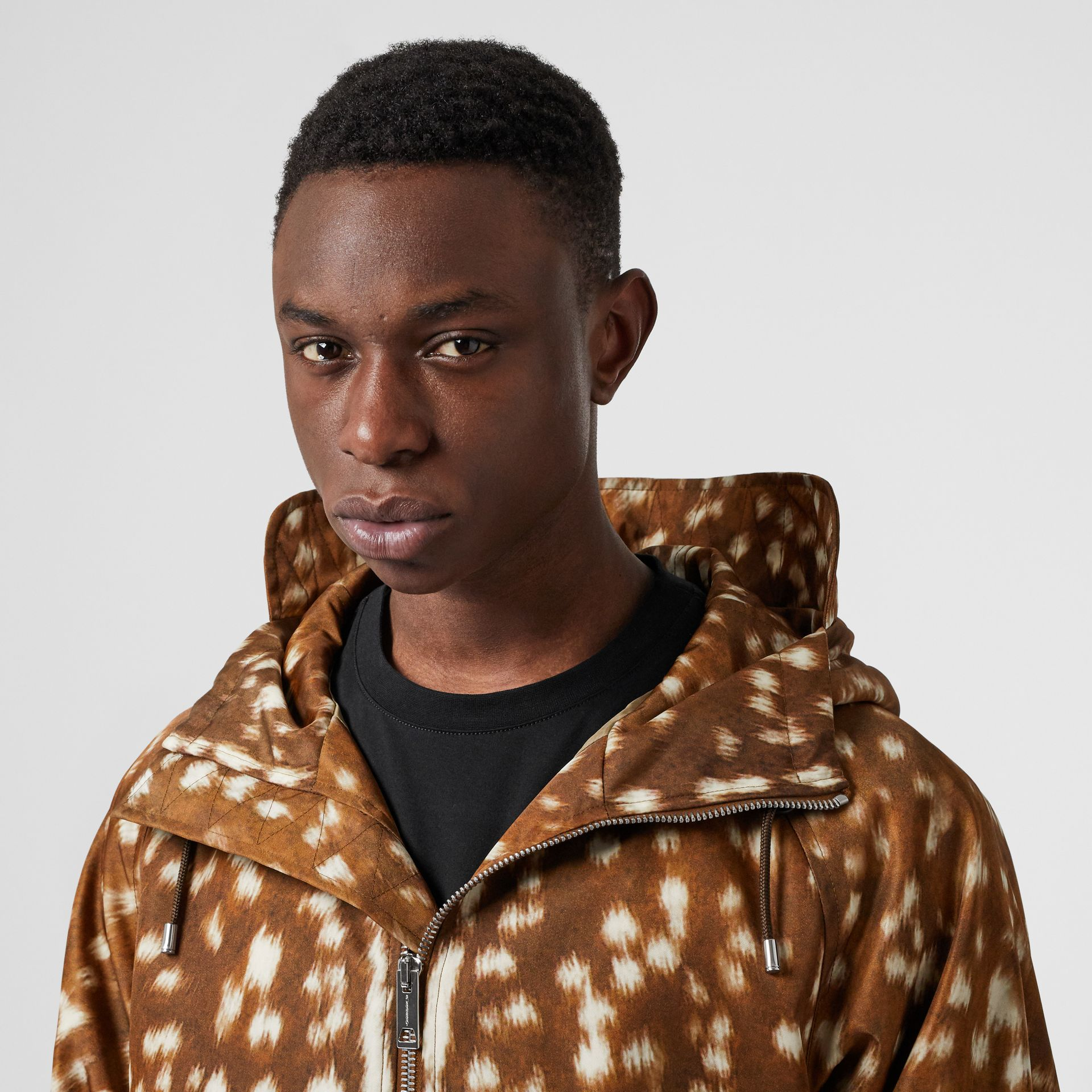 Deer Print Nylon Hooded Jacket in Honey - Men | Burberry United Kingdom - gallery image 6
