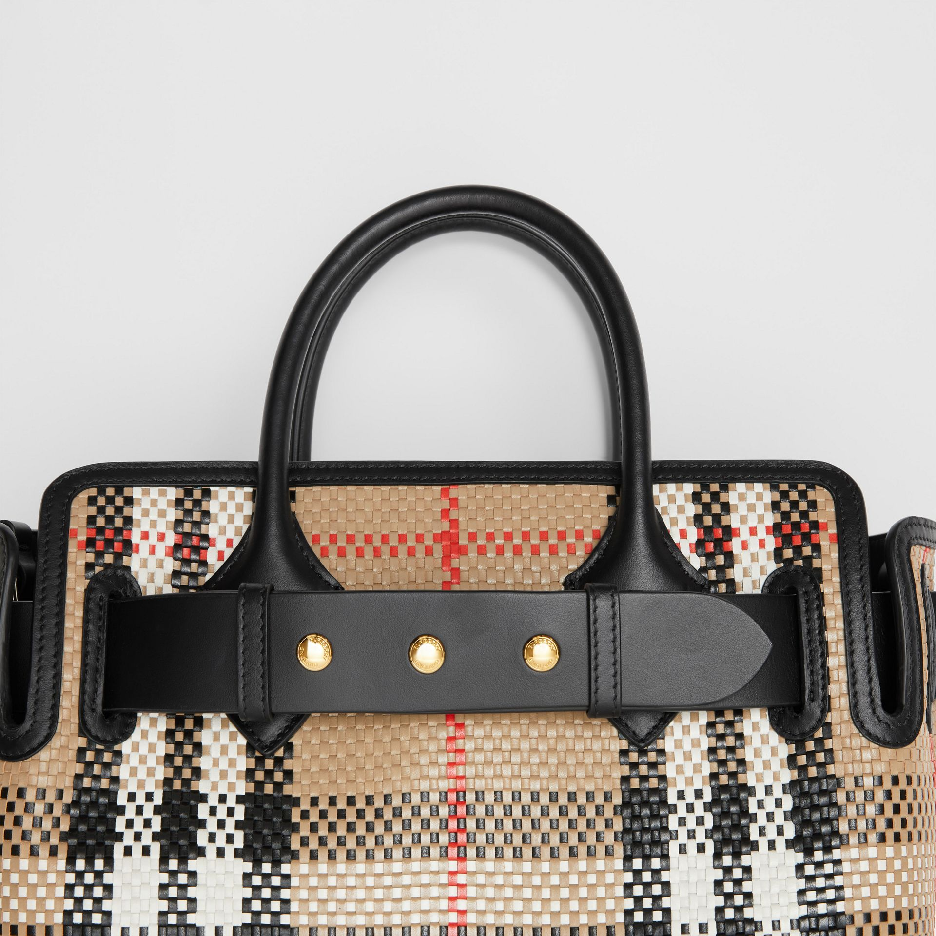 The Small Latticed Leather Triple Stud Belt Bag in Archive Beige - Women | Burberry United Kingdom - gallery image 1