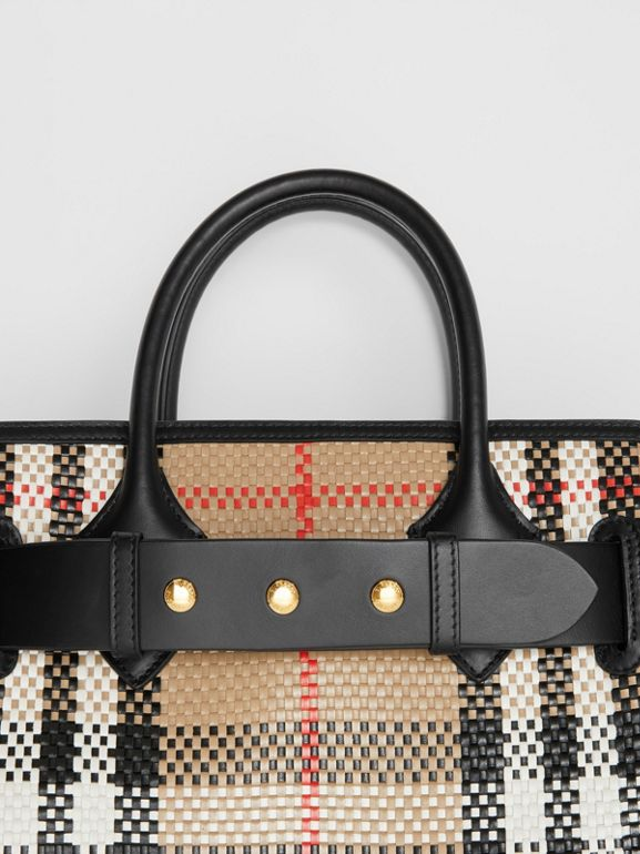 The Small Latticed Leather Triple Stud Belt Bag in Archive Beige - Women | Burberry United Kingdom - cell image 1