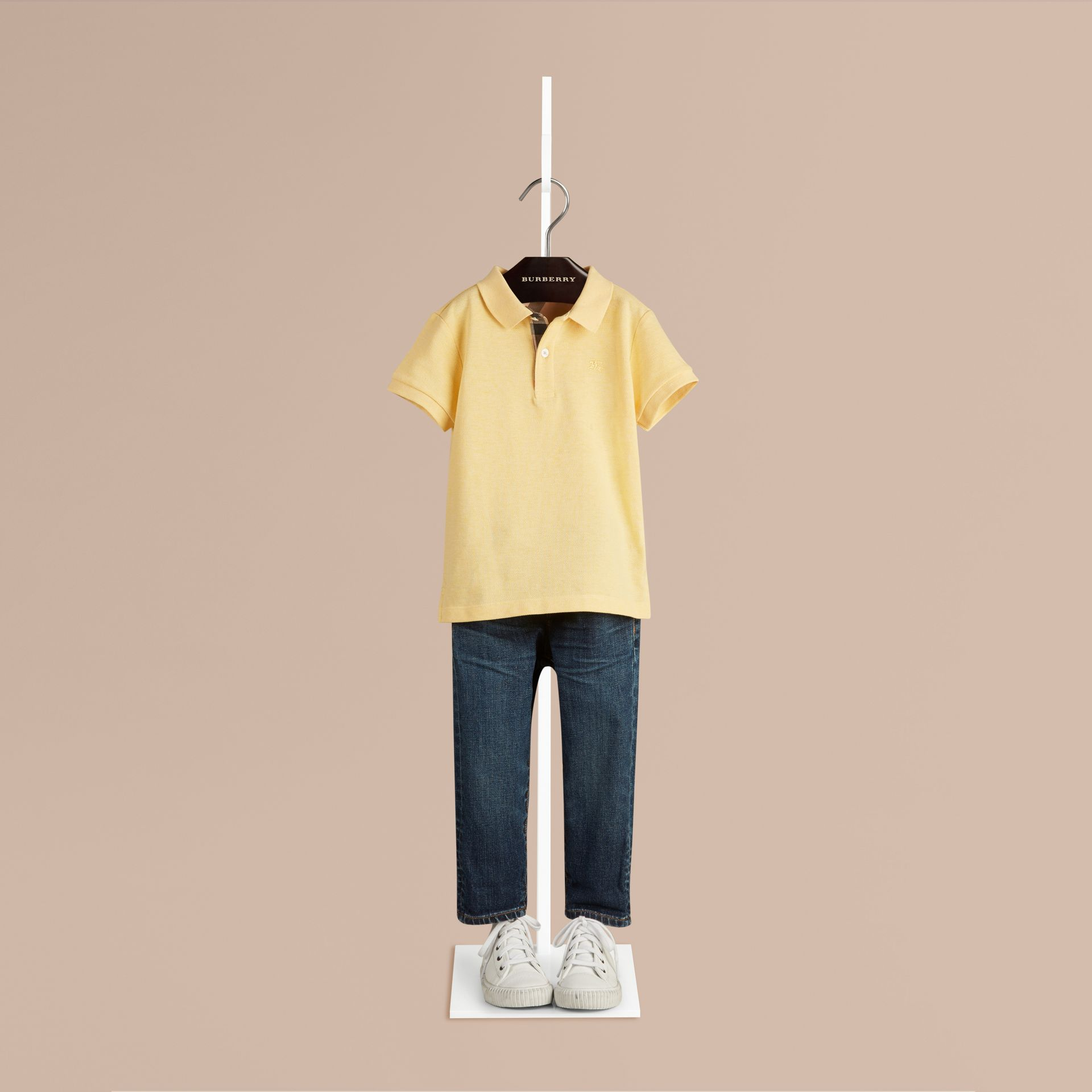Camomile yellow melange Check Placket Polo Shirt Camomile Yellow Melange - gallery image 1