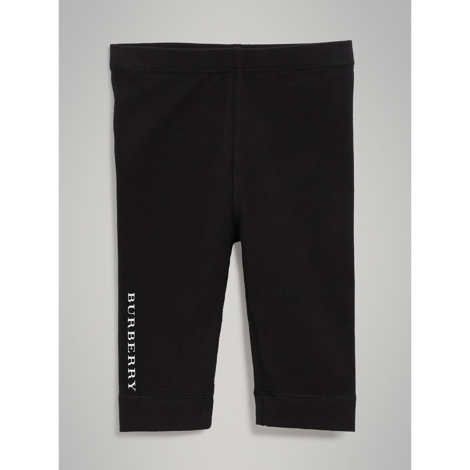 Legging en coton extensible avec logo (Noir) - Enfant | Burberry - photo de la galerie 0