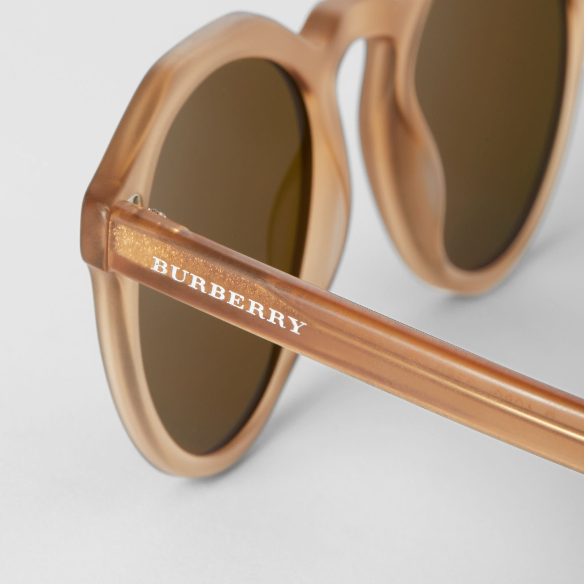 Keyhole Round Frame Sunglasses in Brown - Men | Burberry United States - gallery image 1
