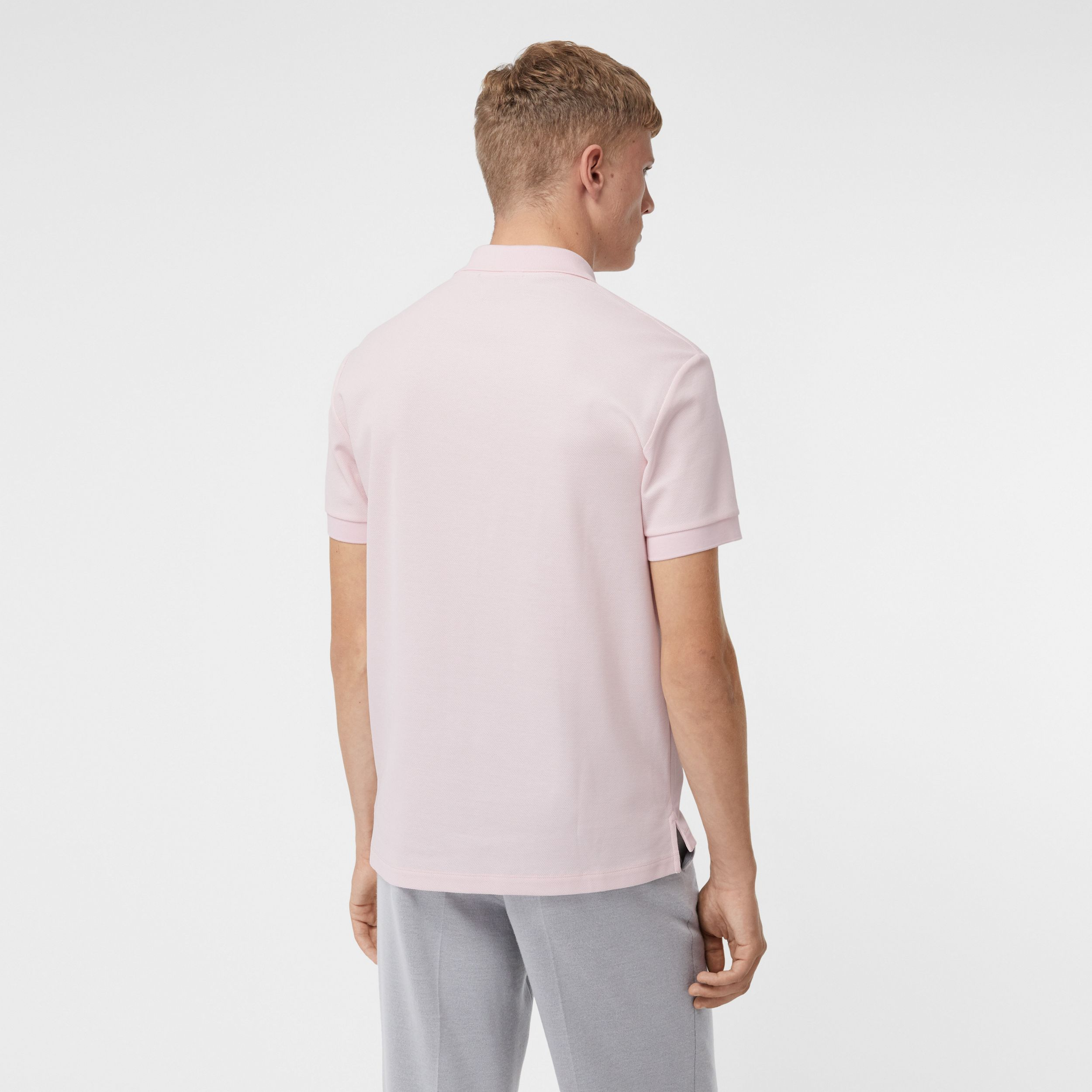 Monogram Motif Cotton Piqué Polo Shirt in Alabaster Pink - Men | Burberry - 3