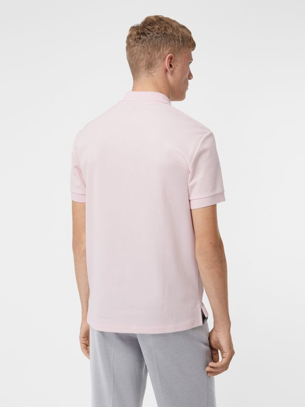 Monogram Motif Cotton Piqué Polo Shirt in Alabaster Pink - Men | Burberry United Kingdom - cell image 2