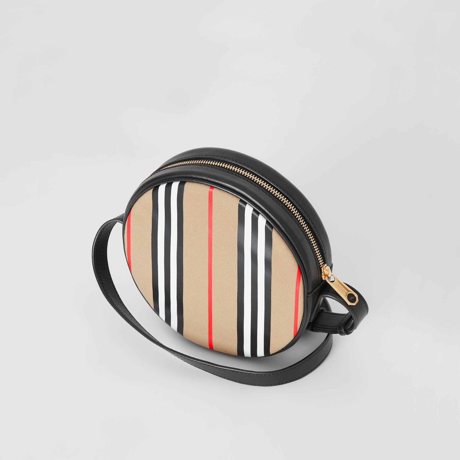 Icon Stripe Cotton Crossbody Bag in Honey/black - Children | Burberry - gallery image 2