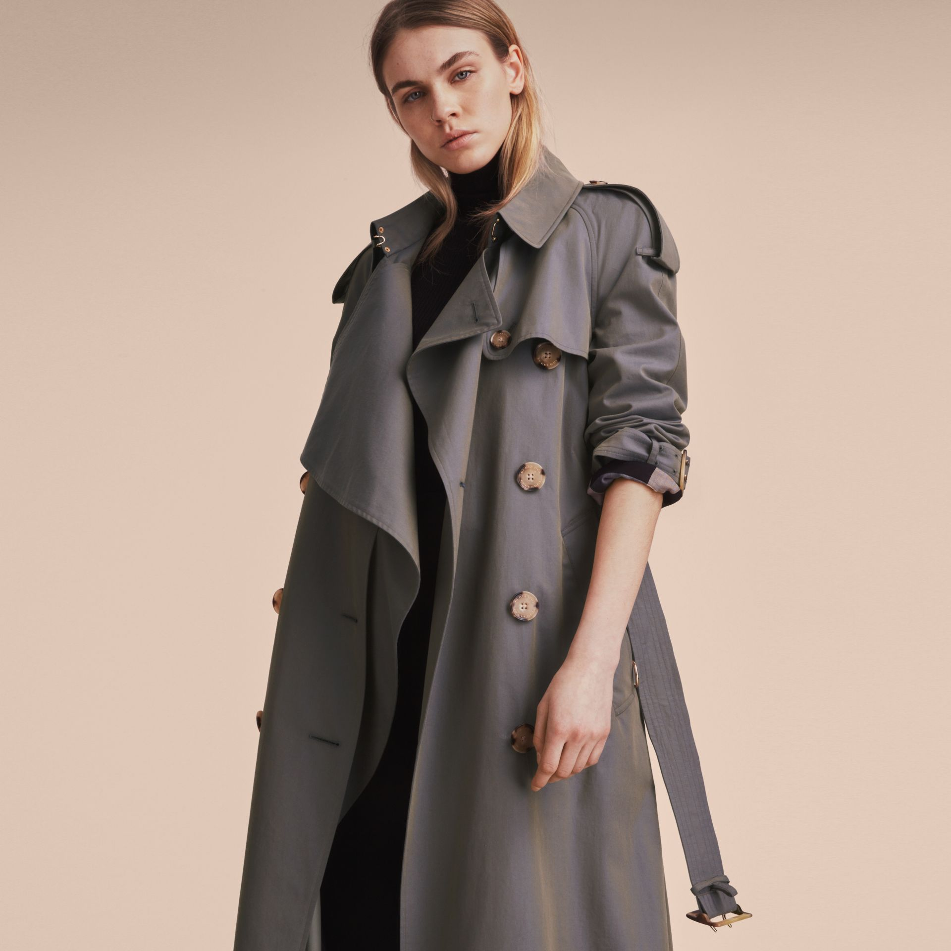 Storm blue Tropical Gabardine Trench Coat - gallery image 8