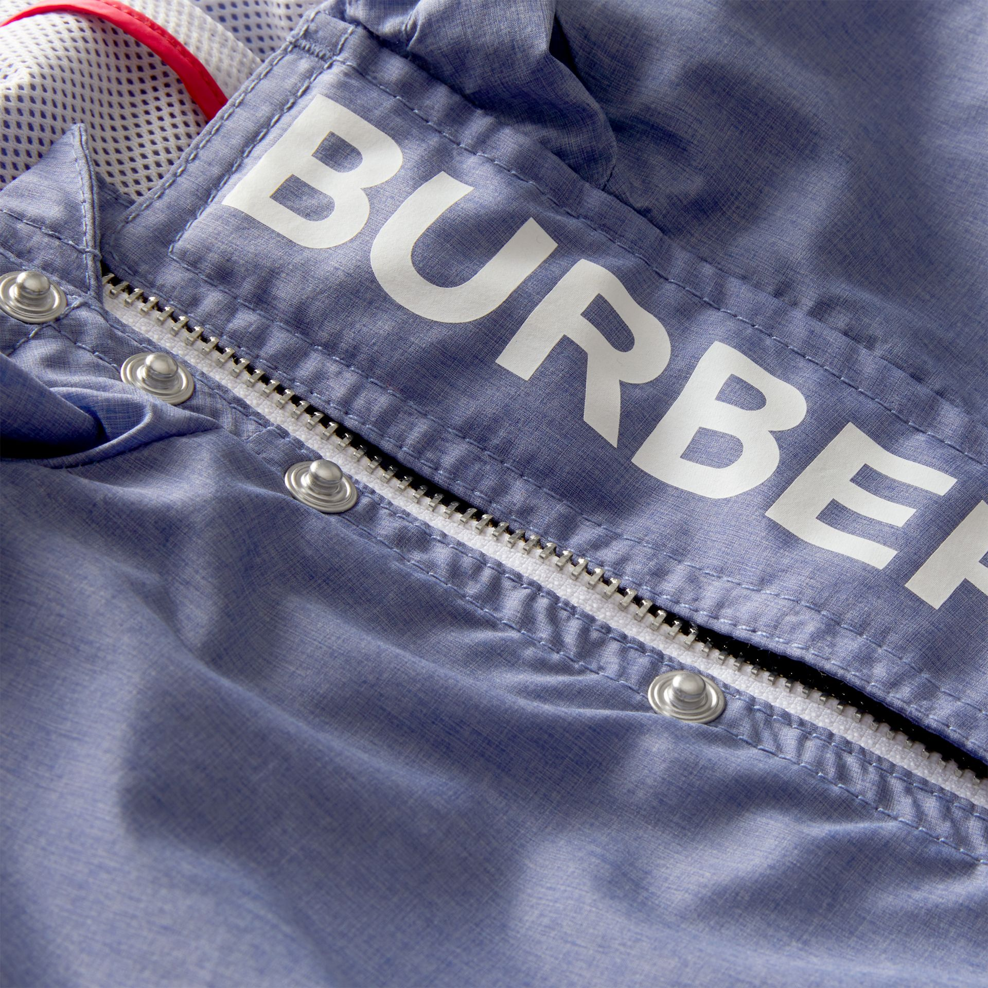 Logo Print Lightweight Hooded Jacket in Sapphire Blue - Children | Burberry - gallery image 1