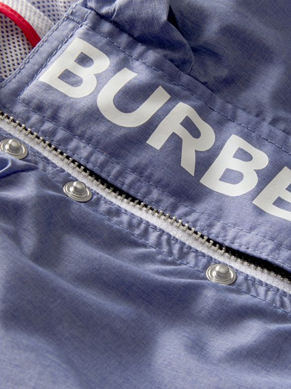 Logo Print Lightweight Hooded Jacket in Sapphire Blue - Children | Burberry Canada - cell image 1