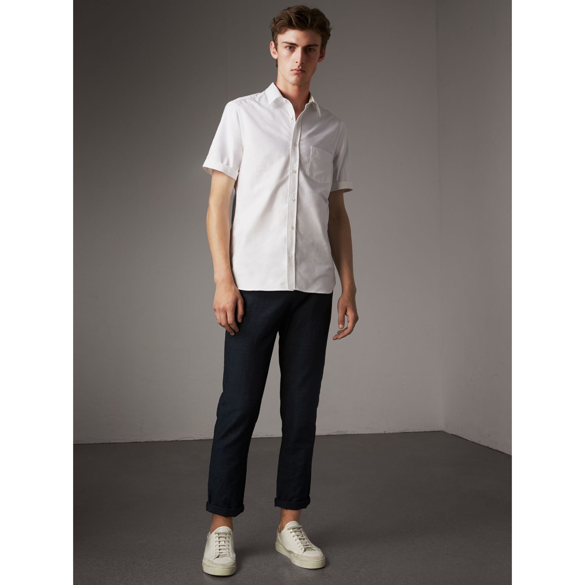 Check Detail Short-Sleeved Cotton Oxford Shirt in White - Men | Burberry - gallery image 1