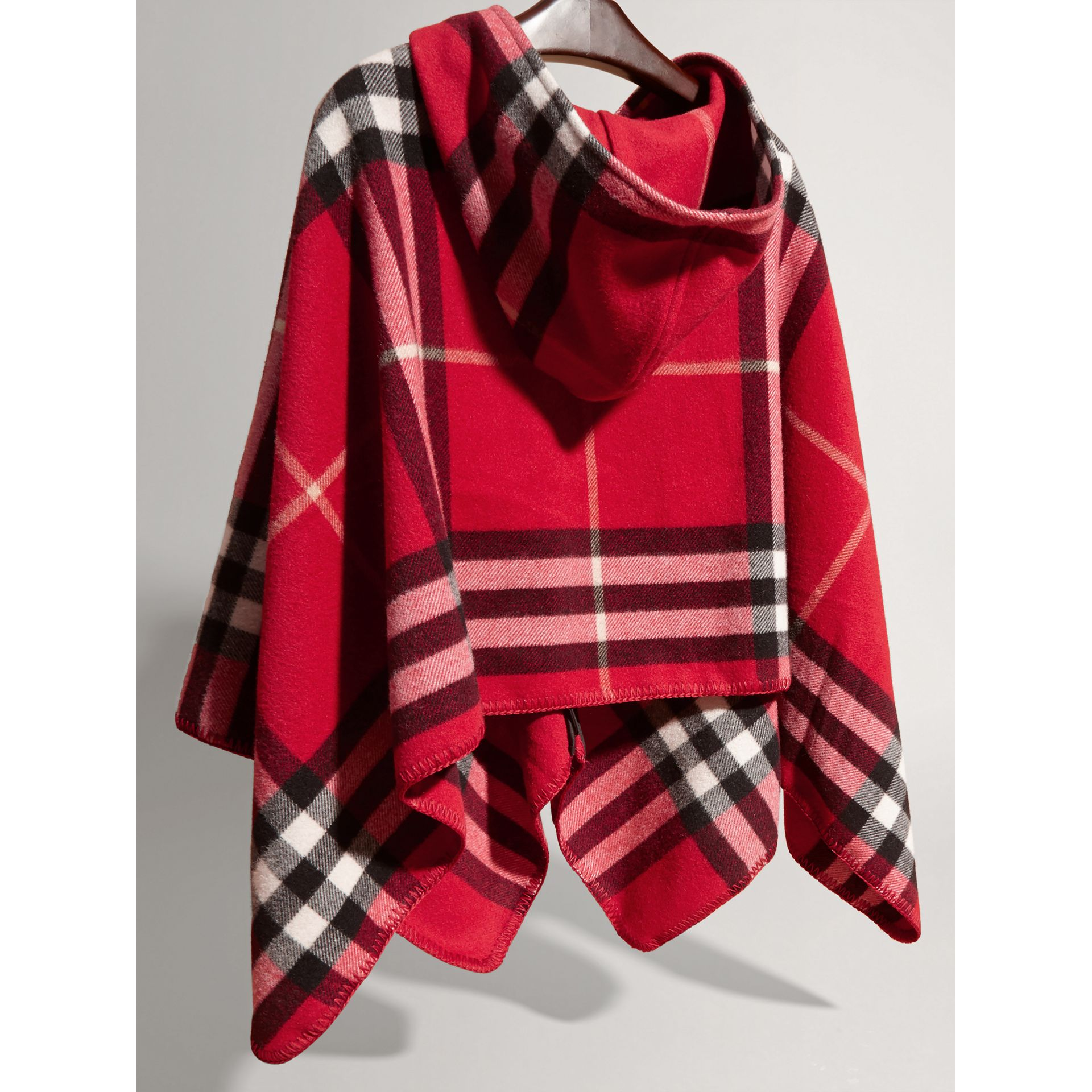 Check Wool Cashmere Hooded Poncho in Parade Red - Girl | Burberry - gallery image 2