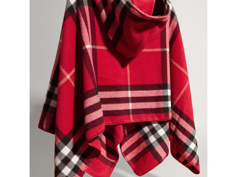 Check Wool Cashmere Hooded Poncho in Parade Red - Girl | Burberry - cell image 2