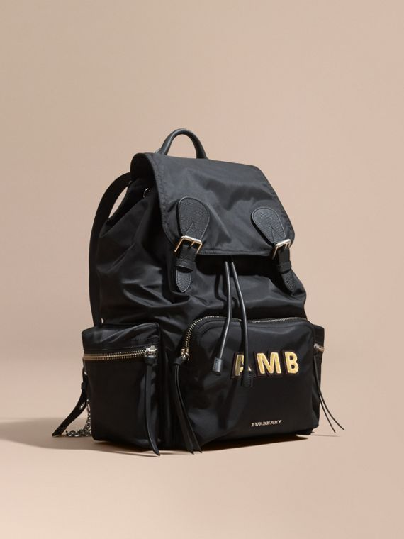 The Large Rucksack in Technical Nylon and Leather Black/black