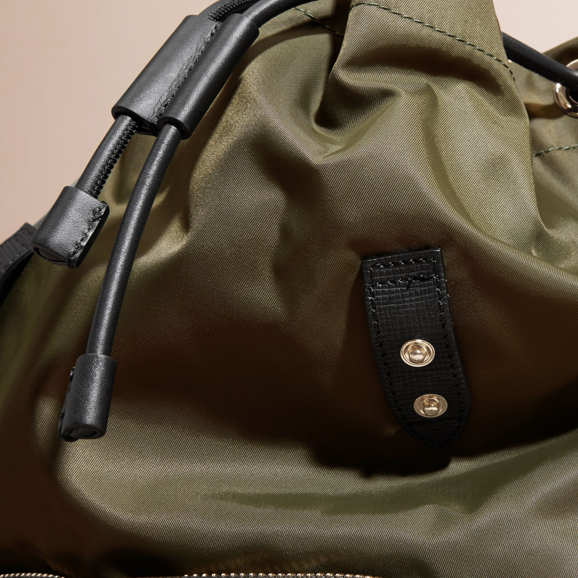 The Large Rucksack in Technical Nylon and Leather in Canvas Green - gallery image 7