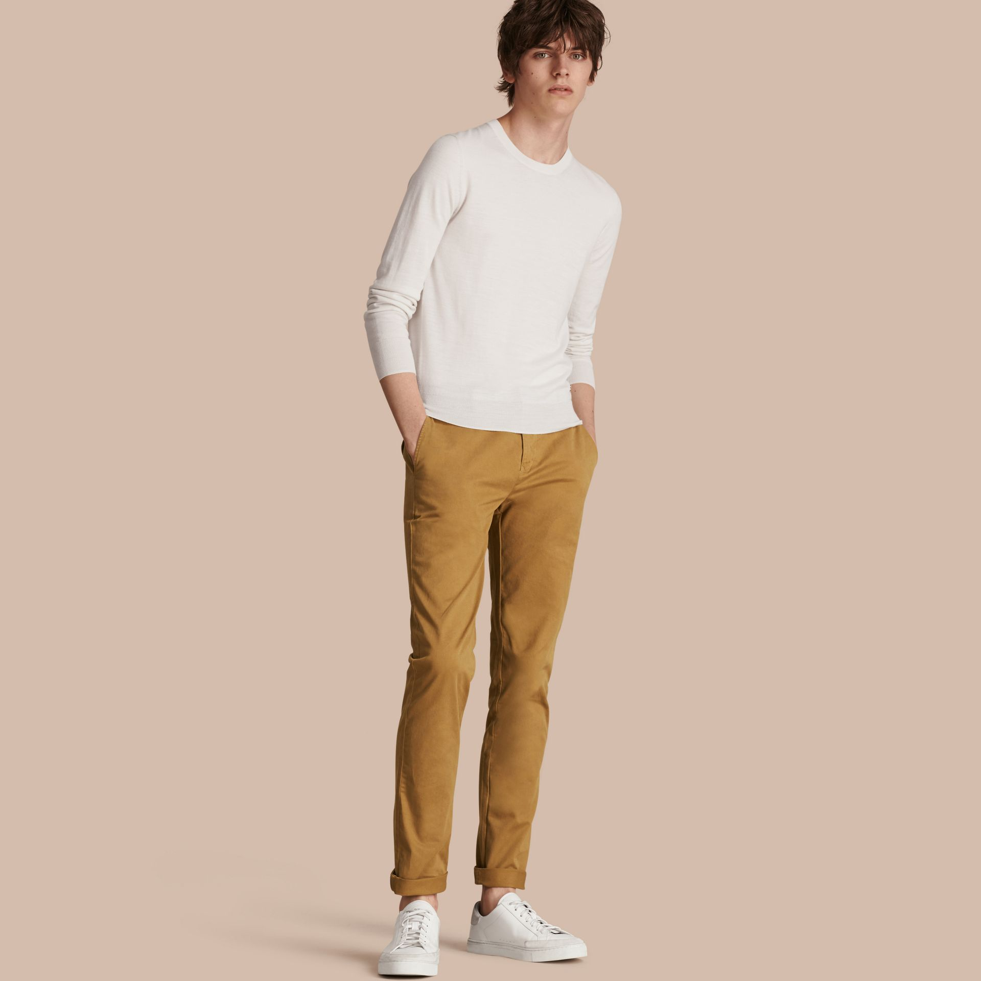 Navy Slim Fit Stretch-Cotton Twill Chinos Navy - gallery image 1