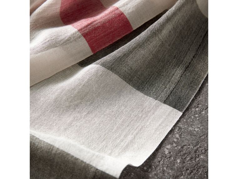 Check Modal Cashmere and Silk Scarf in Stone - Women | Burberry - cell image 1