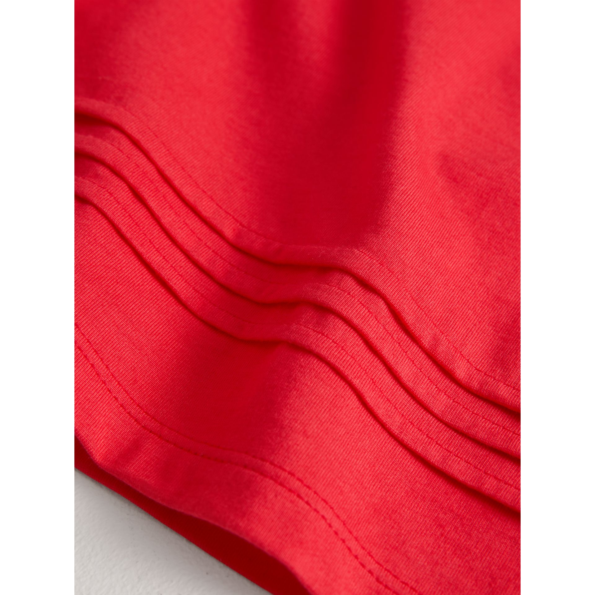 Pleat and Check Detail Cotton T-shirt in Bright Orange Red | Burberry - gallery image 1