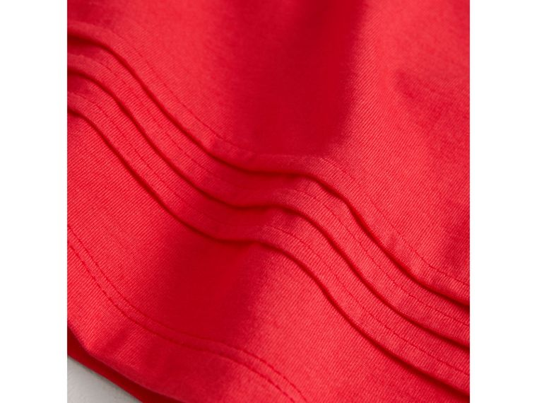 Pleat and Check Detail Cotton T-shirt in Bright Orange Red | Burberry Hong Kong - cell image 1