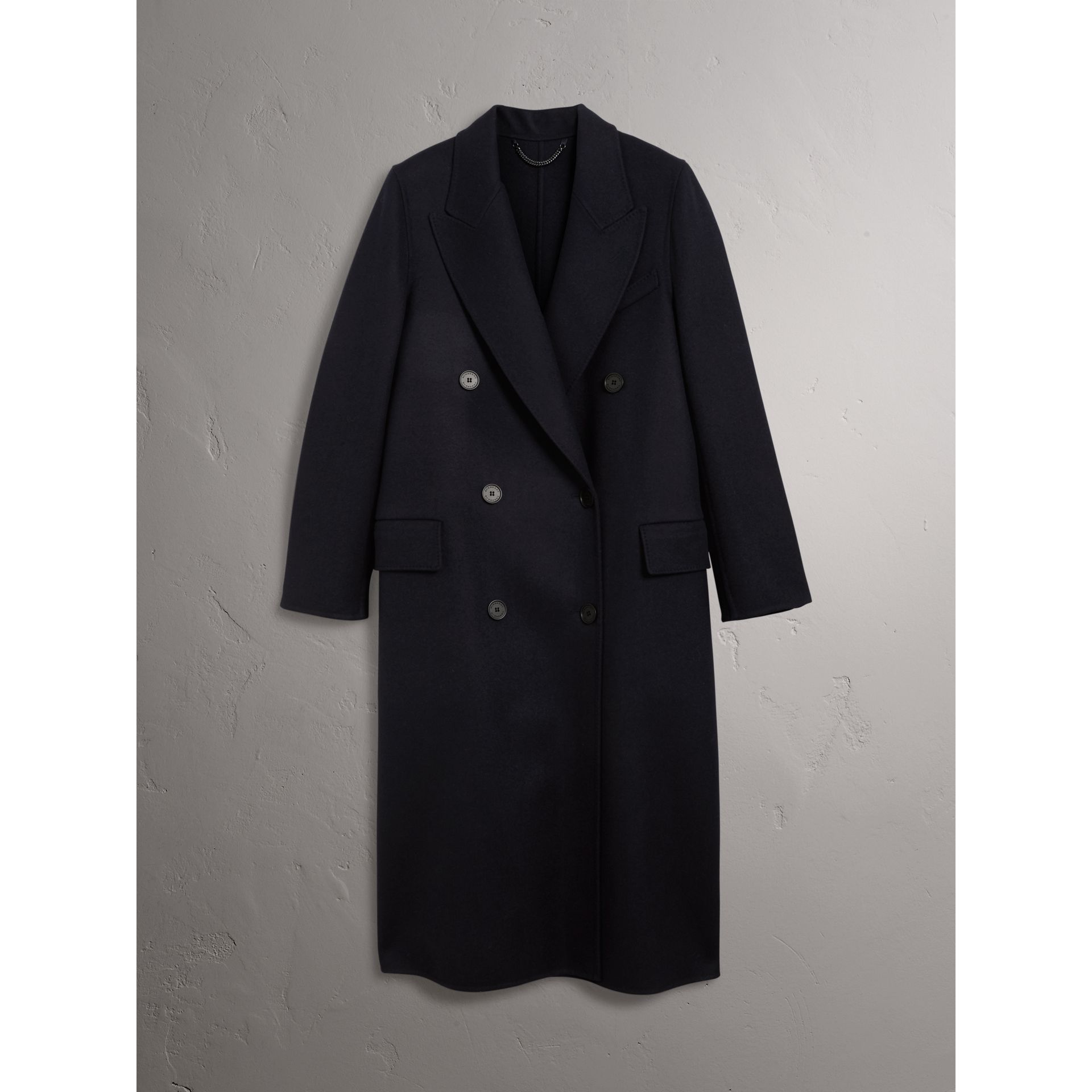 Felted Wool Double-breasted Coat in Navy - Women | Burberry - gallery image 4