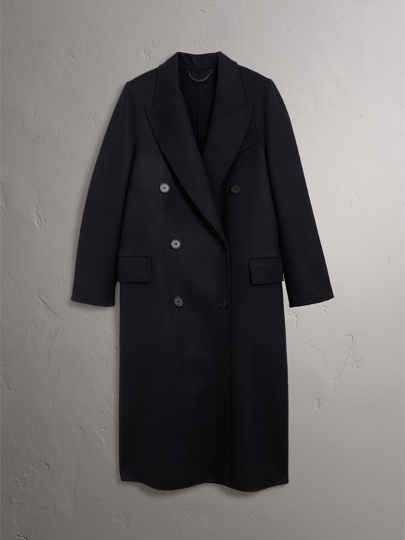 Felted Wool Double-breasted Coat in Navy - Women | Burberry United States - cell image 3