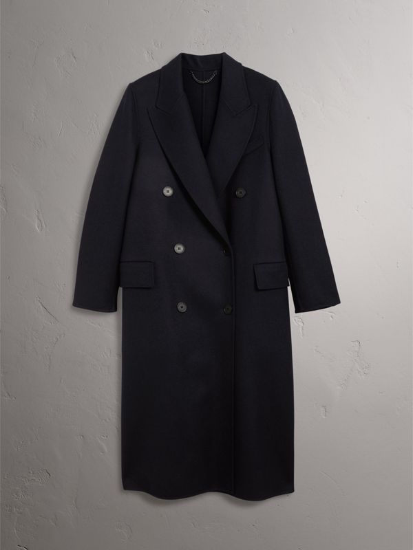 Felted Wool Double-breasted Coat in Navy - Women | Burberry - cell image 3